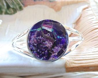 Purple Bracelet, Cuff Bracelet, Dichroic Glass Bracelet, Fused Glass Jewelry, One of a Kind