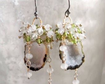 Olive Tabasco Geode Prehnite Chalcedony Vesuvianite Wire Wrapped Dangle Earrings Mixed Metal