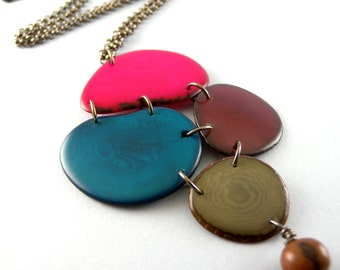 Pink Blue Burgundy Gray Mosaic Cluster Tagua Nut and Acai Seed Eco Friendly Pendant Necklace and Earring Set with Free USA Shipping