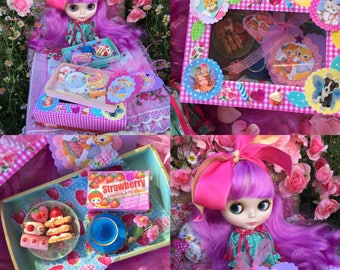 Blythe...Mother's Day Special!!.Handmade Wooden Doll Bed Tray of Sweet Treats in a Cute Gift Box!!..With a Teapot Set Too..Doll Food.