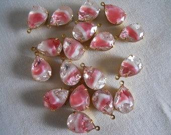 Pair Vintage Pink Givre Glass Stones Mounted 1 Loop  Dangles