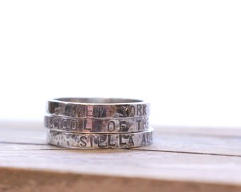 Personalized stackable stacking rings - Stamped Silver Ring Band