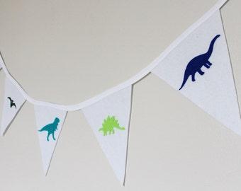 Dinosaur Bunting - Dinosaur Banner - Boy's Bunting - White Bunting - Party banner