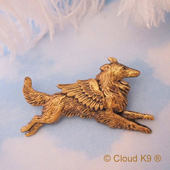 COLLIE / SHELTIE ANGEL Dog Pin Brooch. Jewelry for Dog Lovers Vintage Style (Shetland Sheepdog ) Guardian Angel Dog. Rough Collie.Winged Dog