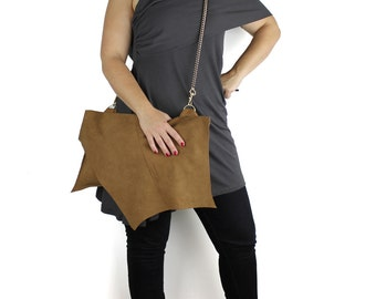 Chestnut Brown Suede Leather Jett Large Handbag - eco made from re-purposed leather