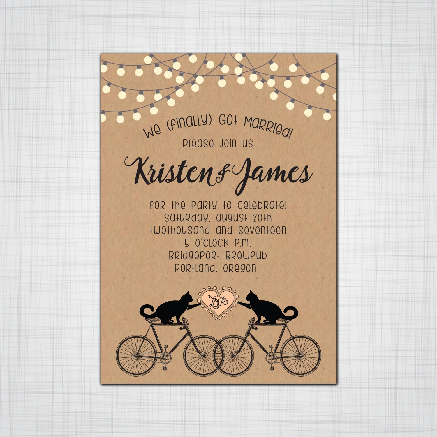 Cats on Bikes Rustic Whimsy Wedding or Elopement Party Invitations ...
