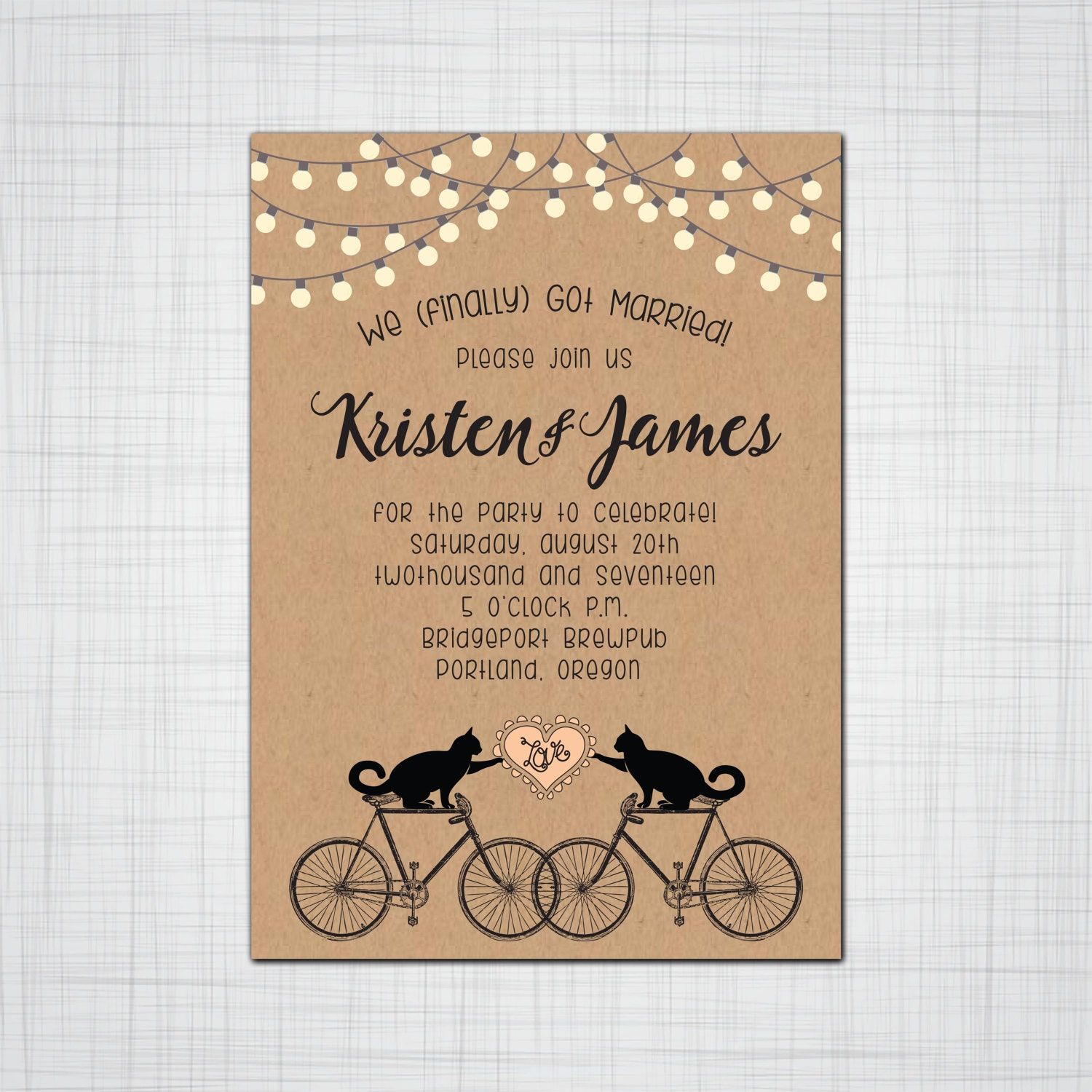 Cats On Bikes Rustic Whimsy Wedding Or Elopement Party Invitations RSVP Cards Post Envelopes Included Fun Whimsical