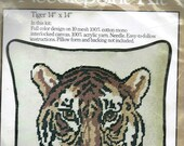 "Tiger Needlepoint Kit Caron 11"" x 14"" Vintage 1977 New Sealed #4597"