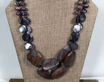 Big bold chunky purple bronzite, mother of pearl and pearl statement necklace