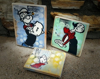 Custom Popeye Olive and Swee Pea  Set of 3 Original Graffiti Art Paintings on RePurposed Ply Wood Vintage Art Cartoon Vintage Made to Order