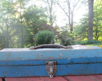 Vintage Rusty Blue Metal Tool Box - Industrial Decor - Rustic Storage