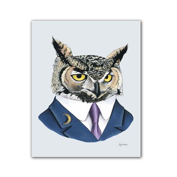 Horned Owl animal print - modern kid art - art print - modern nursery - animals in clothes - animal artwork - Ryan Berkley Illustration 8x10