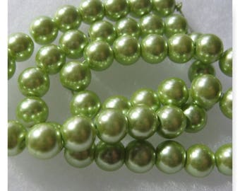 Glass Pearl Bead 8mm Green Beads 50 Beads