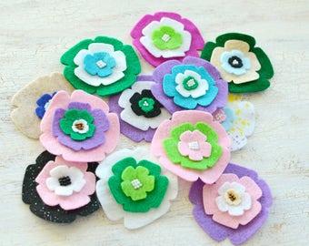 Die cut flowers, felt flower appliques, felt fabric flowers, felt appliques, flower patches, embellishments (12pcs)- GRAB BAG FLOWERS(set 5)