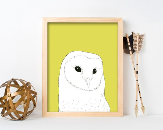 "framed wall art, framed art prints, large framed art, large framed wall art, wall art prints, colorful, owl art prints, owl art - ""Barn Owl"""