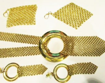 Gold Mesh 1980s Circle Neck lace Doorknocker Earring Set Parure Whiting Davis Style