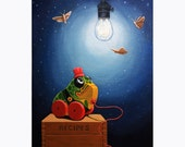 RESERVED for MINDY Light Snacks original whimsical still life vintage toy painting