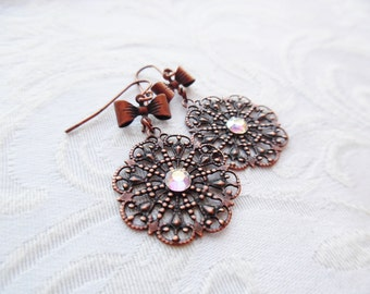 1/2 price sale - Copper Lace Earrings with Iridescent Swarovski Crystal and Bow
