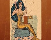 Rockabilly Mermaid -- 50s Meyercord Mermaid Light Switch Cover -- Oversized (Multiple Styles)