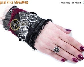 Steampunk Textile Cuff Wrist Cuff Black Leather Red Velvet Silver WiNG SCARAB Watch Gears Steam Punk Cuff - Steampunk Clothing by edmdesigns