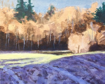 Spring is in the Air - Original Landscape Painting on Canvas 8x8 Fields and Trees Birch