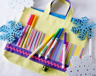 Crayon Tote • Crayon Bag • Coloring Bag • Art Tote • Crayon Holder • Crayon Roll • Flower Girl • Busy Bag • Activity ARTOTE • Banana Cabana