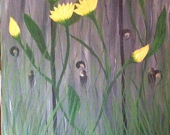 Flowers on the Fence, Hand Painted Acrylic Painting, One of a Kind, Original Painting