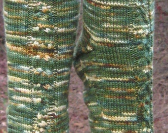 hand knit green brown wool cable socks