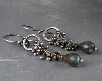 Handcrafted artisan earrings, Silver droplet earrings, labradorite drop earrings, unique earrings, metalwork earrings, black silver earring
