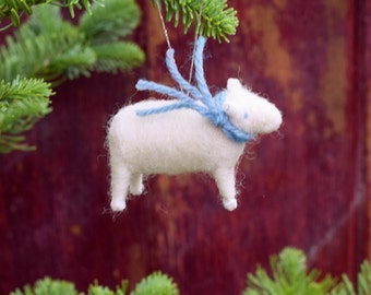 Lamb with a Blue Tweed Scarf - Needle Felted Christmas Ornament