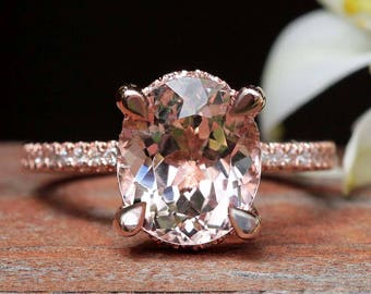 "Solitaire Morganite Engagement Ring - 9x11mm Oval ""Beverly"" Ring by Laurie Sarah - LS4875"