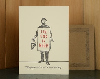 The End - letterpress birthday card