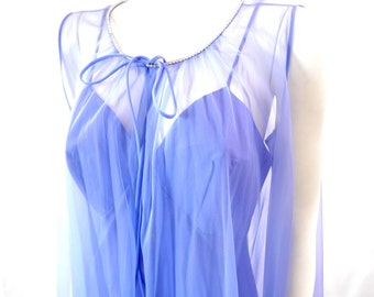Vintage Blue Indigo Rhinestone Nightgown set // Negligee Set Peignoir// Size 36// 129