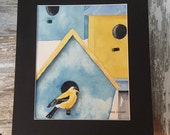 Original Watercolor Painting of Bird Houses and Goldfinch