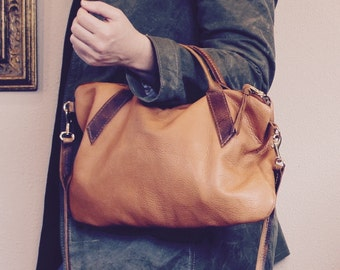 NEW///Oxford Sling in Camel Brown Buffalo Leather with Horween Leather Handles and Clip On Messenger