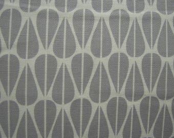 Fabric - Organic Cotton, Monaluna, Grey Leaves, Roll End, Crafts, Home Decor Sewing