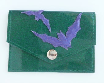 Metalflake Vinyl Snap Wallet Green with Blueberry Bats