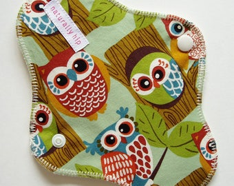 "8"" Organic Hemp Fleece Regular Cloth Menstrual Pad, Owls Trees Green Brown Woodland, Washable Reusable Cloth San Pro CSP, Incontinence Pad"