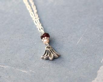 Lotus Flower Pendant, Garnet, Freshwater Pearls, Sterling Silver