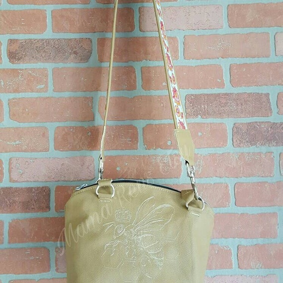 Genuine leather purse,  queen bee bag, ready to ship,  domed purse