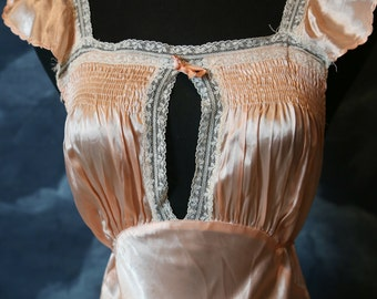 Vintage 1930s Art Deco Old Hollywood Bias Cut Silk Satin Nightgown - Size Medium