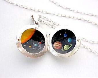 Tiny Solar System Silver Locket, Oil Enamel Miniature Painted Necklace, Sterling Jewelry