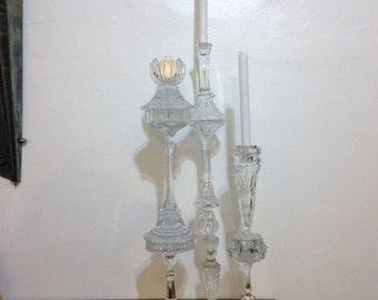 "THREE Crystal Candlestick Votive Holder 28"" Height Handmade Upcycle Crystal"