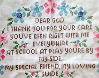 Quilt Block Cross Stitch Vintage A Child's Prayer Columbia Minerva Stamped Cross Stitch Baby Quilt Block