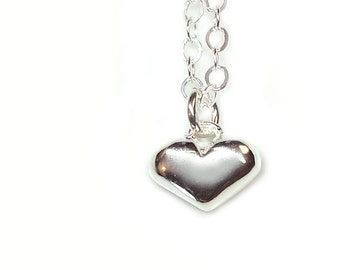 Heart Necklace - Tiny - Sterling Silver - Miniature - Sweet Hearts - Heart Charm - Heart Jewelry - Cute - Gifts Under 30 - Made In Brooklyn