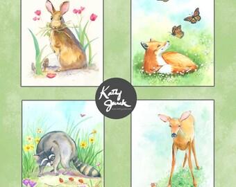 Woodland Animals Set - Forest Animals Set - Baby Bunny  - Set of 4
