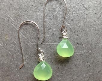 Glowing Bright Lime Green Gemstone Simple Sterling Silver Earrings