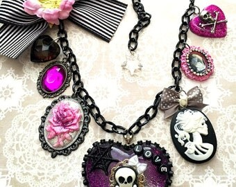 Day of the Dead Sugar Skulls Charm Necklace