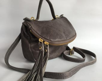 Small Alberta leather bag in distressed grey
