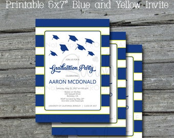 Graduation Announcement | Graduation Party |  Graduation Invite | Printable Invitation | Digital Download | Blue Yellow White | DIY